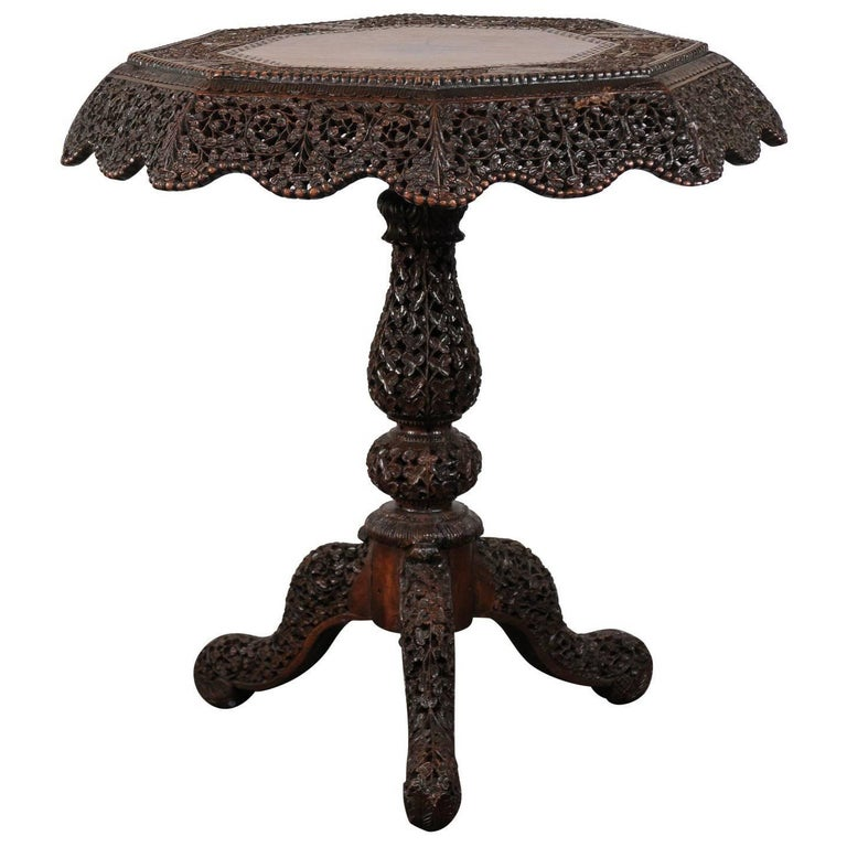 19th Century Intricately Carved Anglo-Indian Table