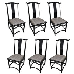 Eight Italian Black Lacquer Chin Hua Dining Chairs