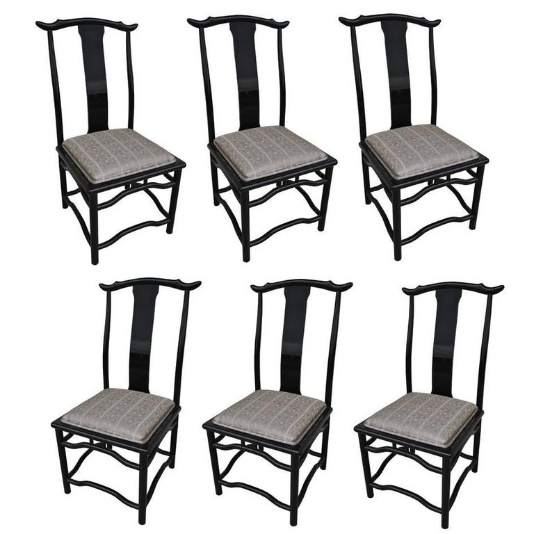 Set Of Eight Chin Hua Dining Chairs In Black Lacquer