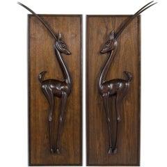 Walnut Gazelle Wall Sculptures