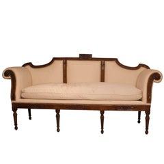 Italian Walnut Neoclassical Sofa, circa 1810