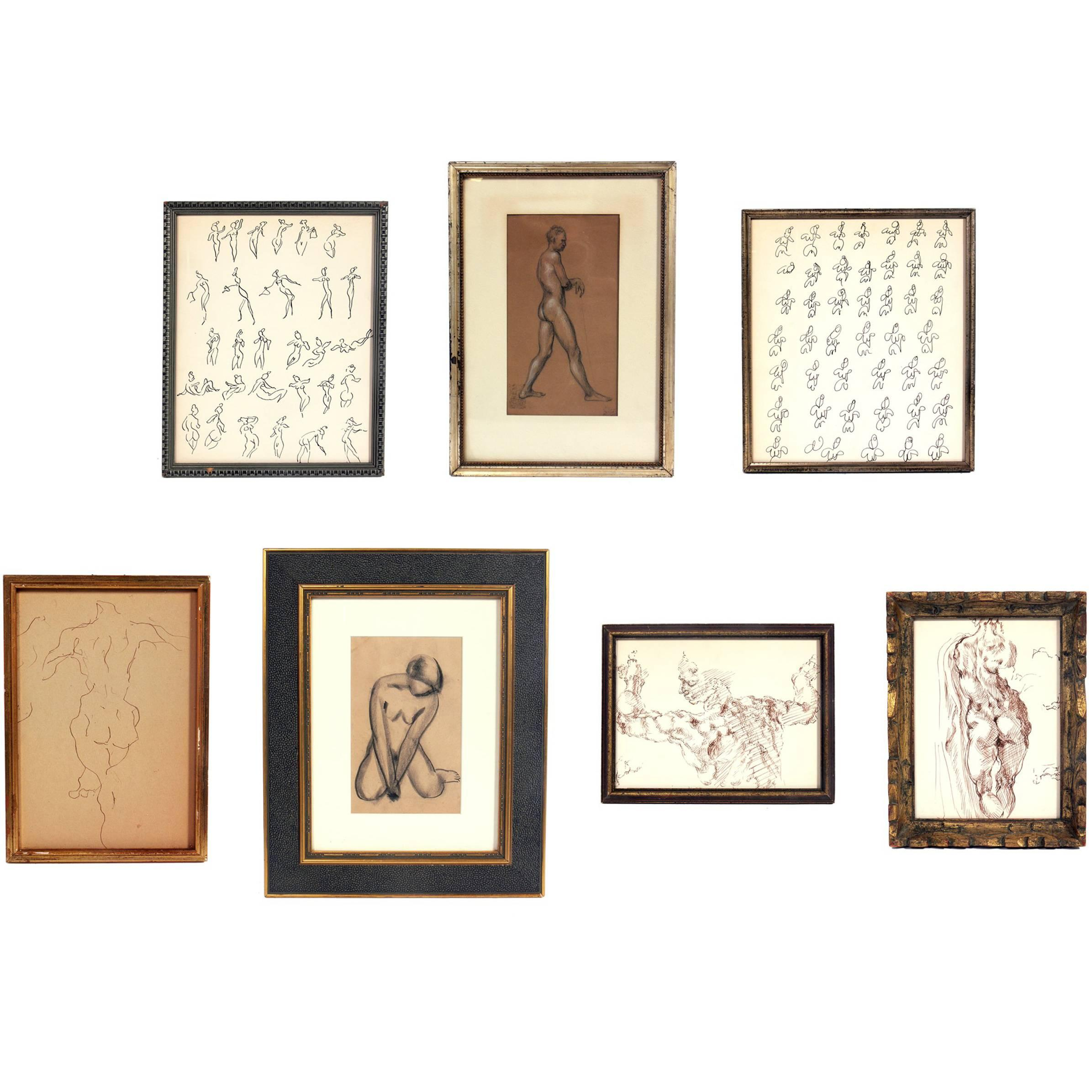 Selection of Figural Nude Drawings or Gallery Wall