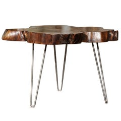 American Custom Magnolia Slab Cocktail Table with Three Metal Hairpin Legs