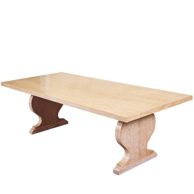 Plank Top Limed Oak Harvest Dining Table