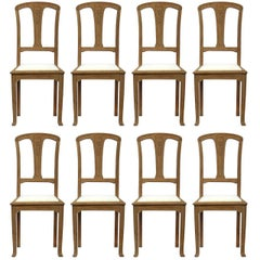 Eight Dining Chairs French Art Nouveau Arts & Crafts Bleached Oak, circa 1900