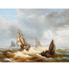 Marine Sailing Boats in a Stormy See, Dutch School, 19th Century