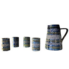 Italian Ceramic Pitcher and Four Tumblers by Bitossi
