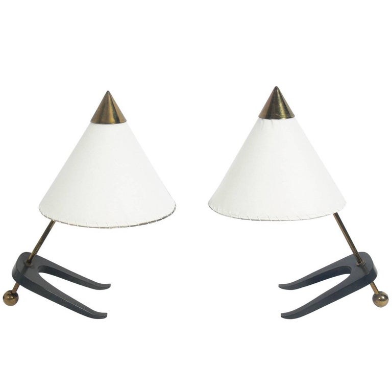 Sculptural Pair of Modernist Lamps