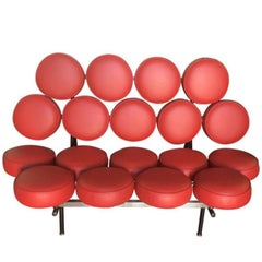 George Nelson Marshmallow Red Leather Sofa