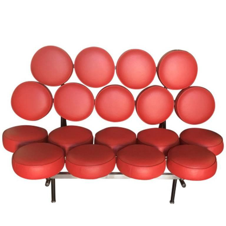 George Nelson Marshmallow Red Leather Sofa At 1stdibs