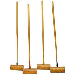 Set of Large Antique Croquet Mallets