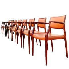 Eight Midcentury Niels Otto Møller Mod. 65 Rosewood and Leather Dining Armchairs
