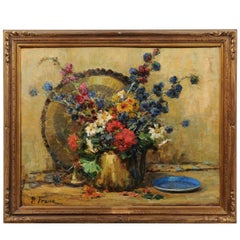 French 19th Century Still-Life Floral Painting by Pierre Franc in Giltwood Frame