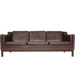 Danish Mid-Century Modern Chocolate Brown Leather Three-Seat Sofa