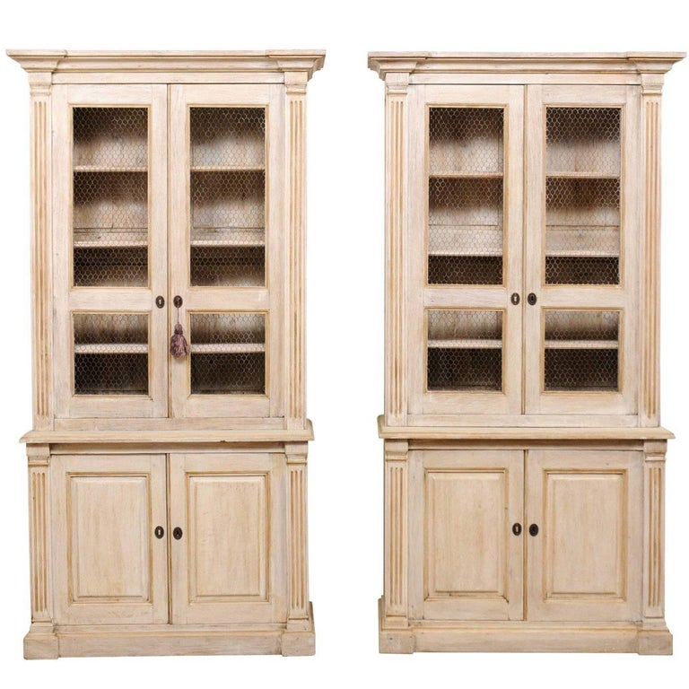 pair of 19th century tall painted wood cabinets with wire on the cabinet doors for sale at 1stdibs. Black Bedroom Furniture Sets. Home Design Ideas