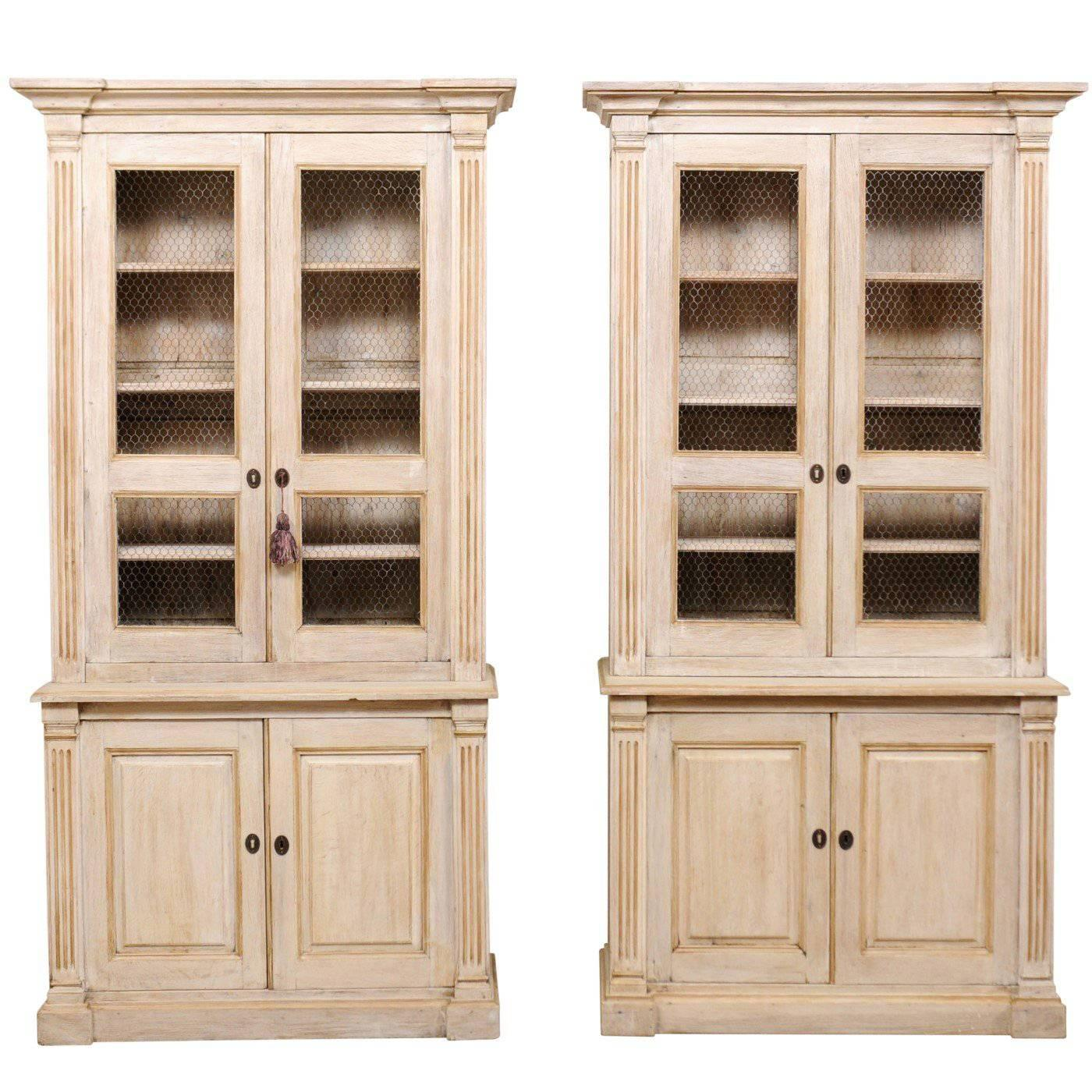 Pair Of 19th Century Tall Painted Wood Cabinets With Wire On The Cabinet  Doors