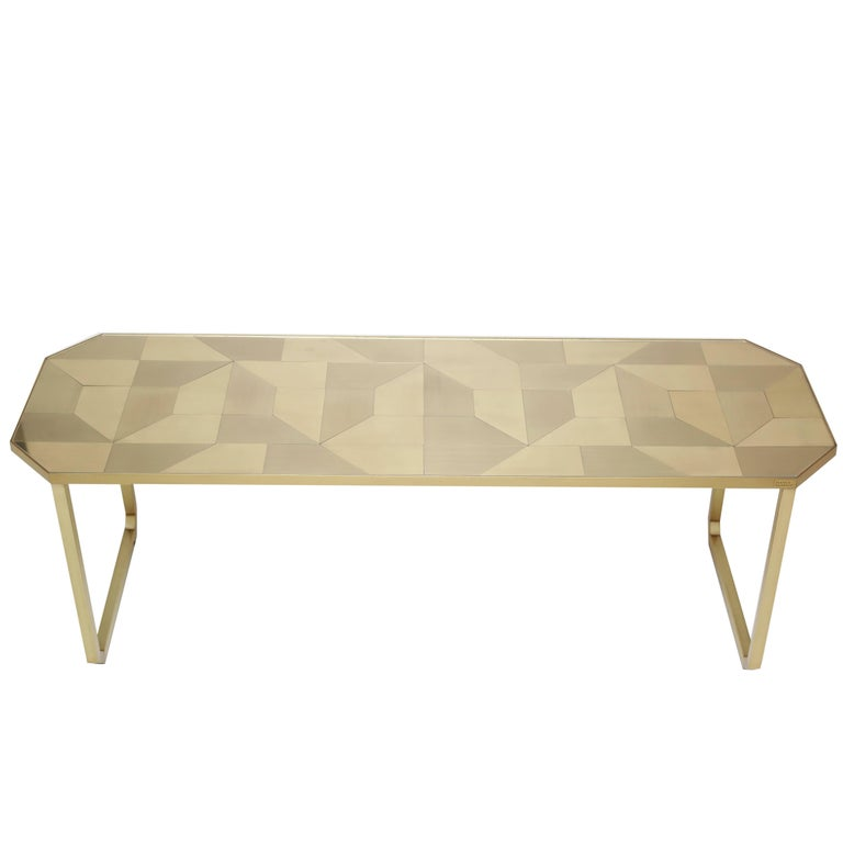 Geometric Coffee Table in Brass, Brazilian Contemporary Style, Trama Series