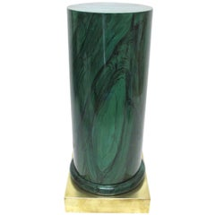 Faux Painted Malachite Pedestal with Brass Base