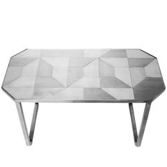 'Trama' Coffee Table, Geometric Designs in Stainless Steel Inox Tiles