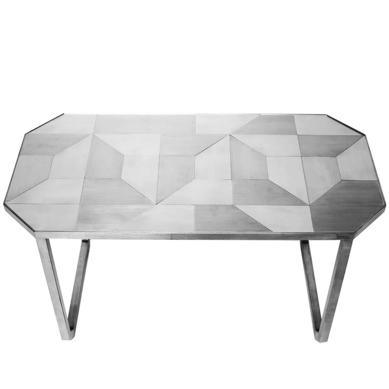 'Trama' Coffee Table, Geometric Designs in Stainless Steel Inox Tiles