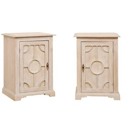 Pair of English Mid-20th Century Painted Wood Side Tables with Understated Trim