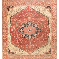 Square Antique Persian Heriz Serapi, circa 1890