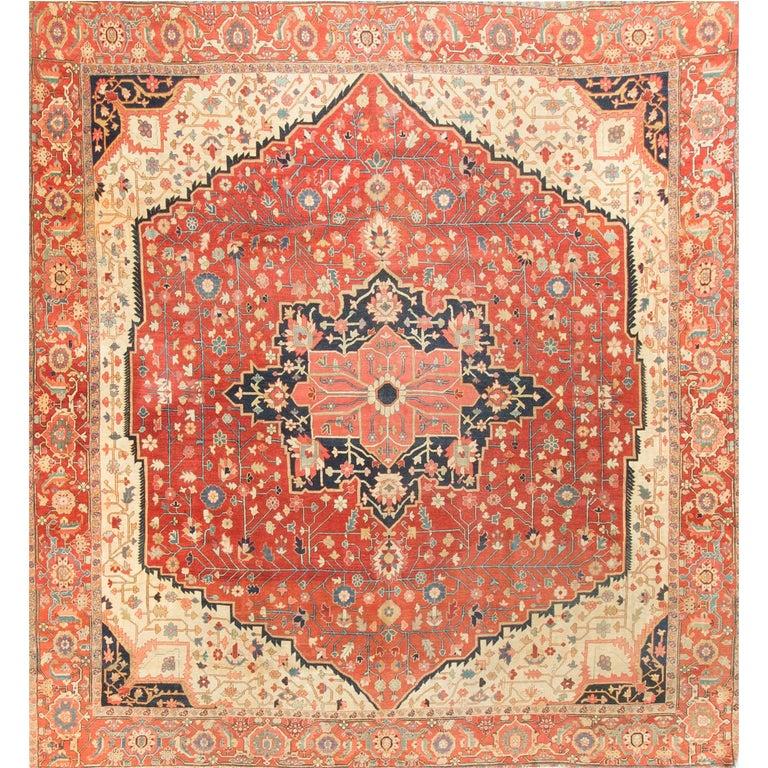 Square Antique Persian Heriz Serapi, circa 1890 For Sale