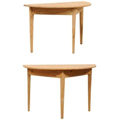 Pair of 19th Century Wood Demilune Tables in Warm Painted Taupe Finish