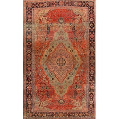 Early 19th  Century Rust / Teal Persian Kashan Carpet