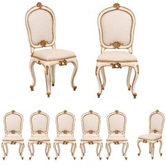 Set of Eight Italian Carved Wood Side Chairs with Stunning Deep Gold Trim