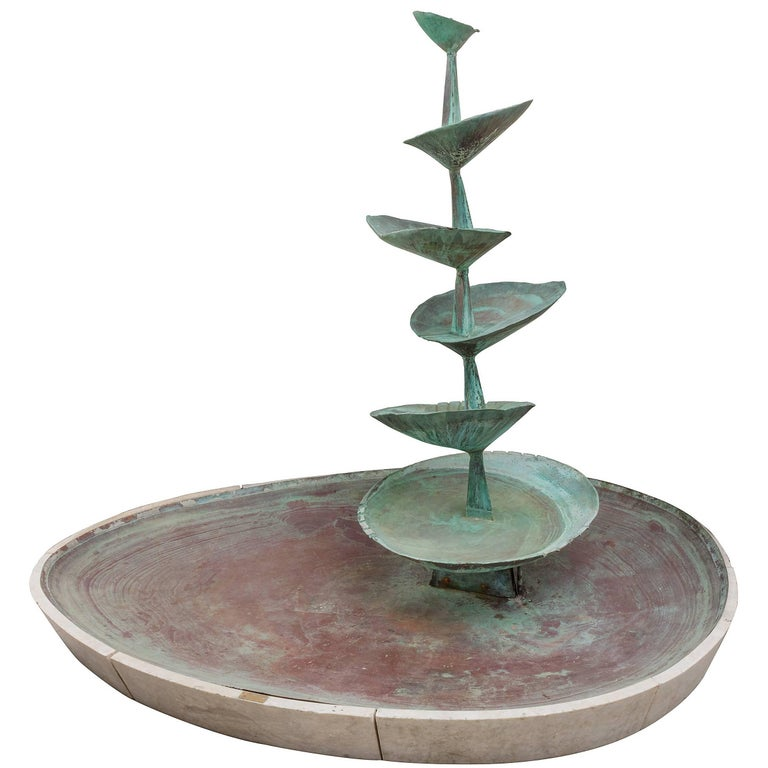 """Fran All Till Fall"" Midcentury Copper Fountain by Arne Jones, Sweden, 1957 For Sale"
