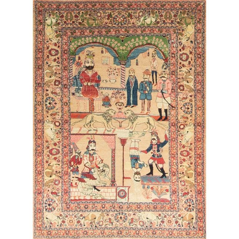 Antique Pictorial Tabriz Rug