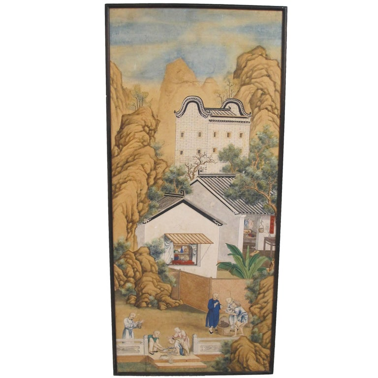 19th Century Chinese Watercolor Painting on Paper For Sale