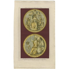Antique Print of the Great Seal of Queen Anne by Harrison (1789)