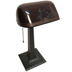 Emeralite Desk Lamp with Cased Glass Shade, American, circa 1915