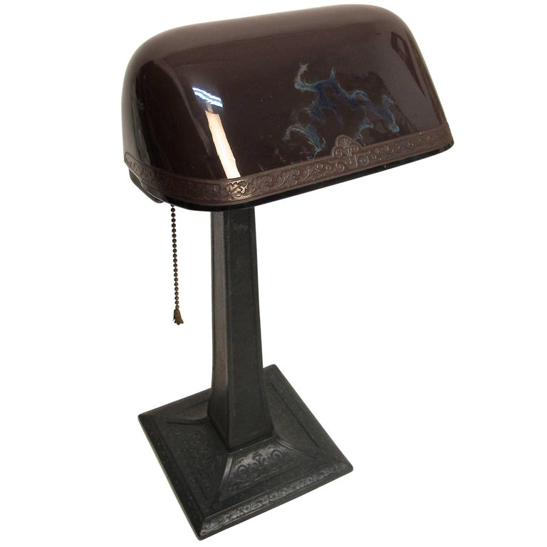 Emeralite Desk Lamp with Cased Glass Shade, American, circa 1915 For Sale