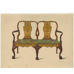 Antique Print English Furniture 'Walnut Settee' by P. Macquoid, 1906