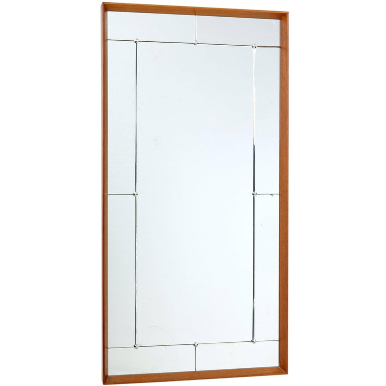 Large 1950s teak frame wall mirror for sale at 1stdibs for Large framed mirrors for sale
