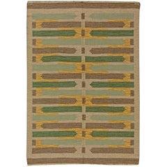Vintage Swedish Flat-Weave Rug by Maj Swanstrom