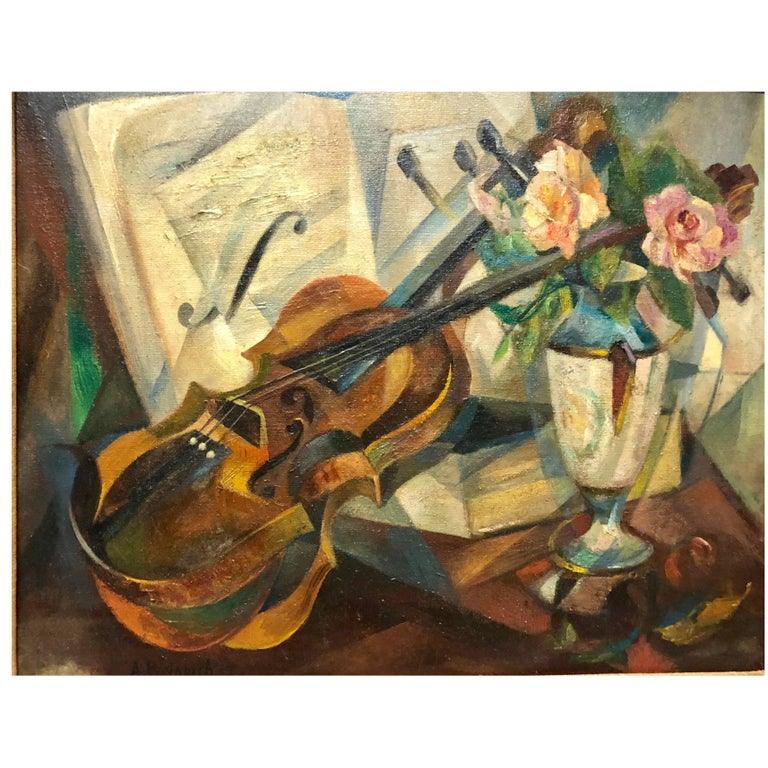 """Cubist Still Life """"Violin"""" by Agnes Weinrich, Signed, Dated 1922"""