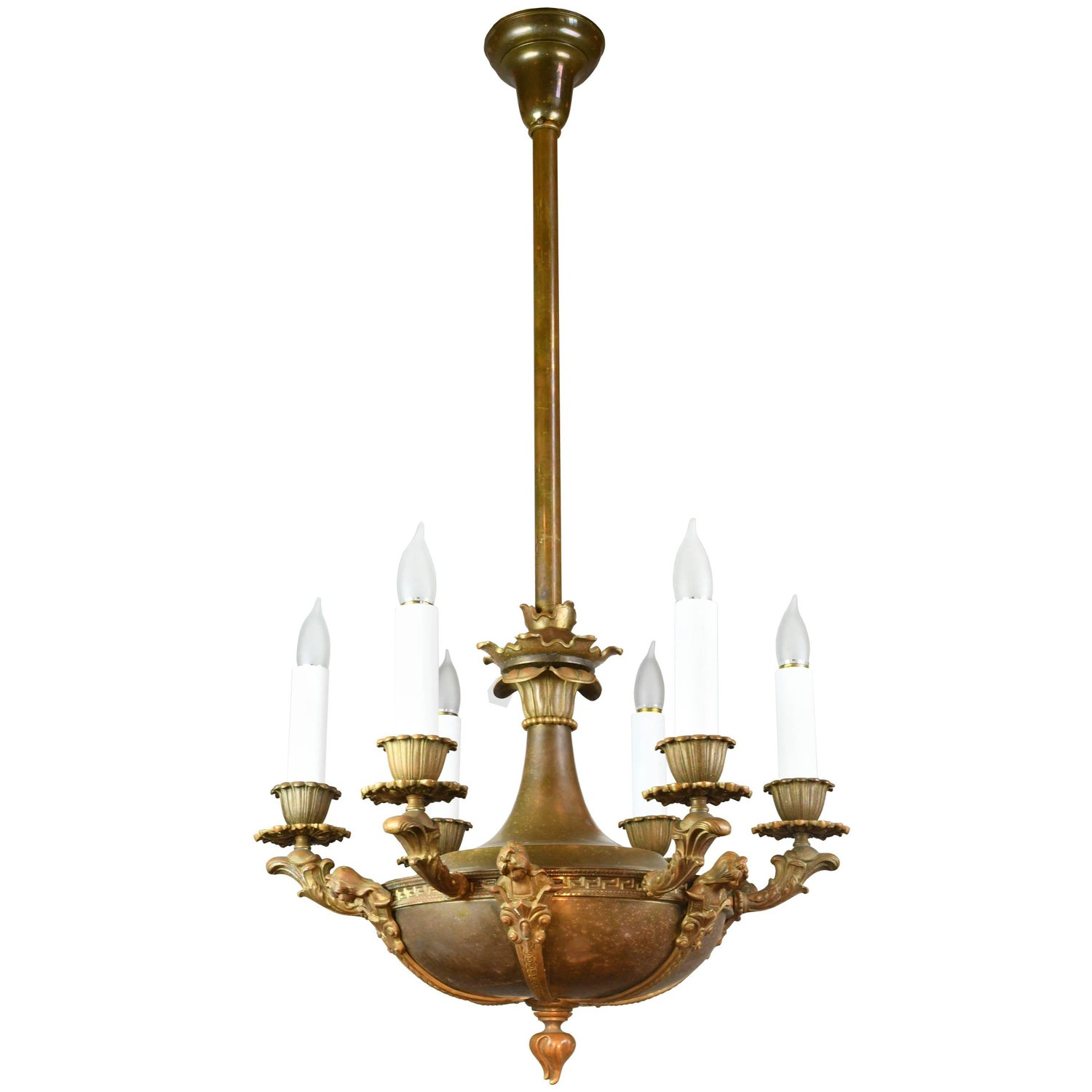Bronze Figural Six Candle Chandelier For Sale at 1stdibs