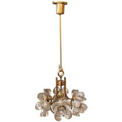 1990s Mid-Century Modern Floral Glass and Brass Pendant Light with Six Lights