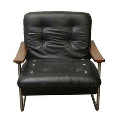1960s Mid-Century Modern Black Italian Leather and Chrome Armchair