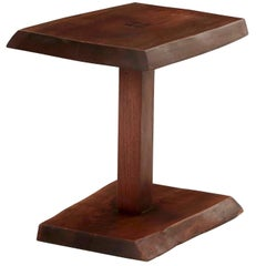 New Hope School Live Edge Walnut Side Table by Alan Rockwell, circa 1970s