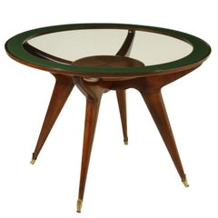 Table designed by Gambarelli Beech Rosewood Glass Vintage, Italy, 1958