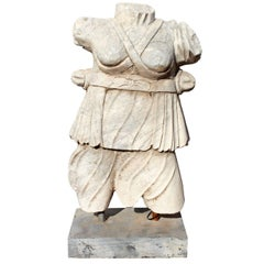 Classical Roman Style Hand Carved White Carrara Marble Sculpture of a Torso