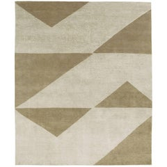 Contemporary Tibetan Rug Hand-Knotted in Nepal, Light Grey - Brass