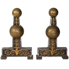 Part of Art Deco Style Fire Andirons