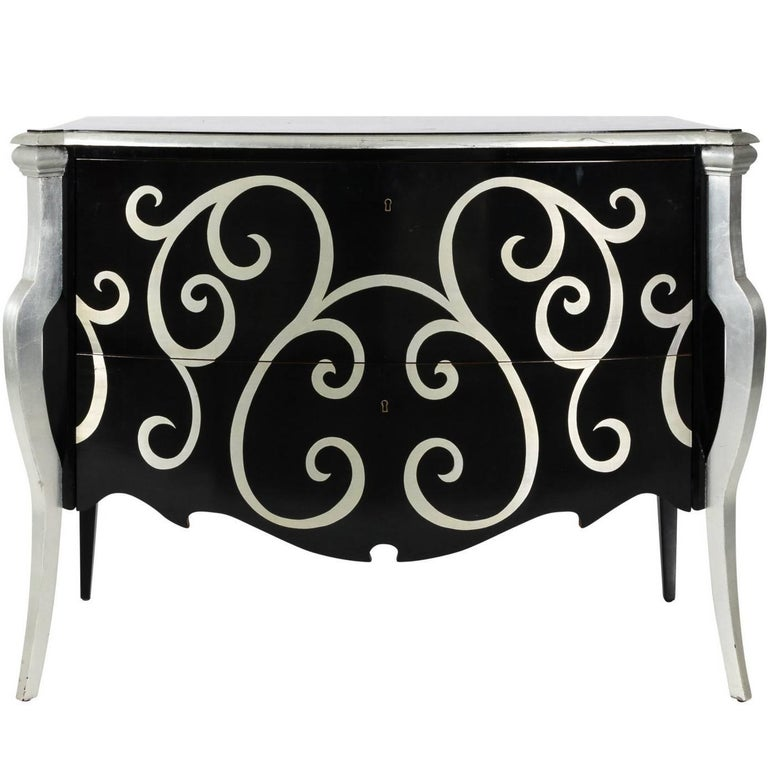 Contemporary Black Lacquer Chest of Drawers