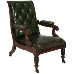 William IV Style Green Leather Chair, circa 1840